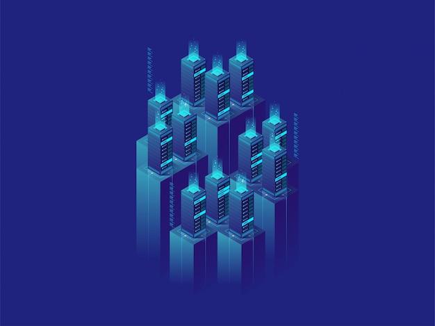 Изометрические данные серверной комнаты Premium векторы