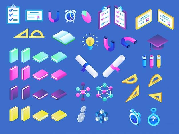 Современные изометрические иконки онлайн образования Premium векторы