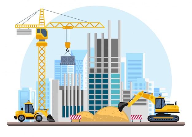 Строительные работы с домами и строительными машинами. Premium векторы