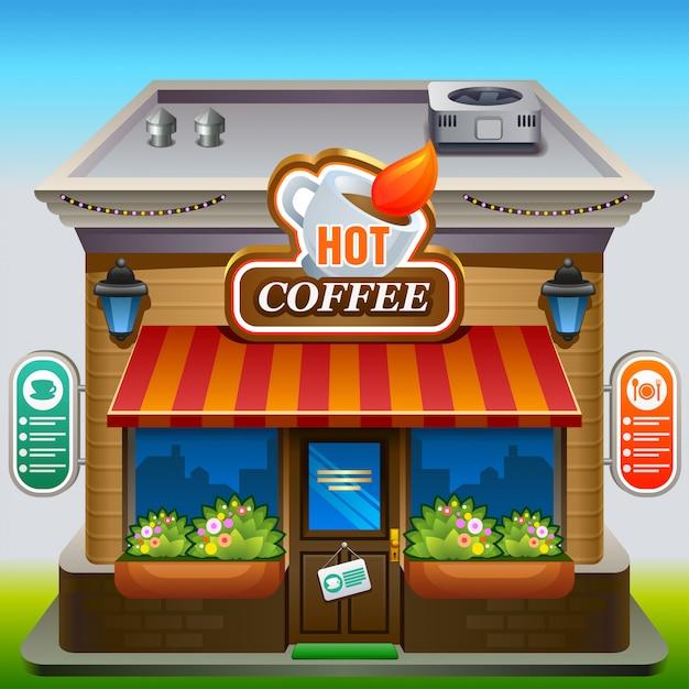 コーヒーショップのファサード Premiumベクター