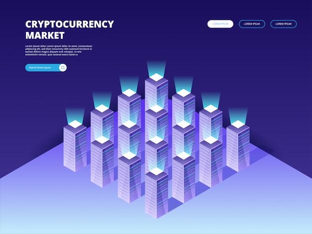 Рынок криптовалют. криптовалюта и блокчейн Premium векторы
