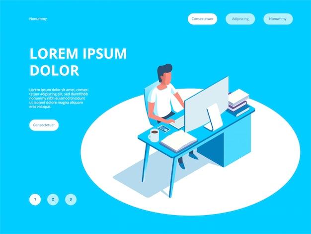 Молодой человек работает на целевой странице программист Premium векторы