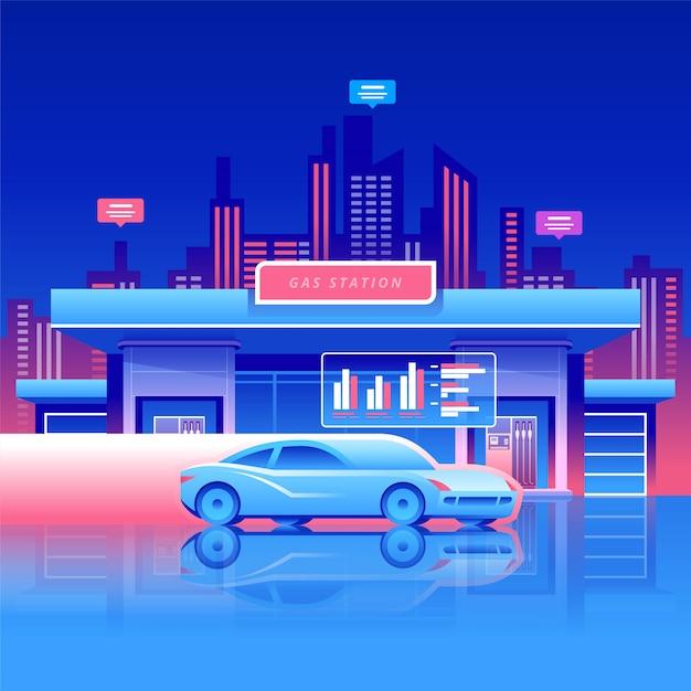 車でのガソリンスタンド Premiumベクター