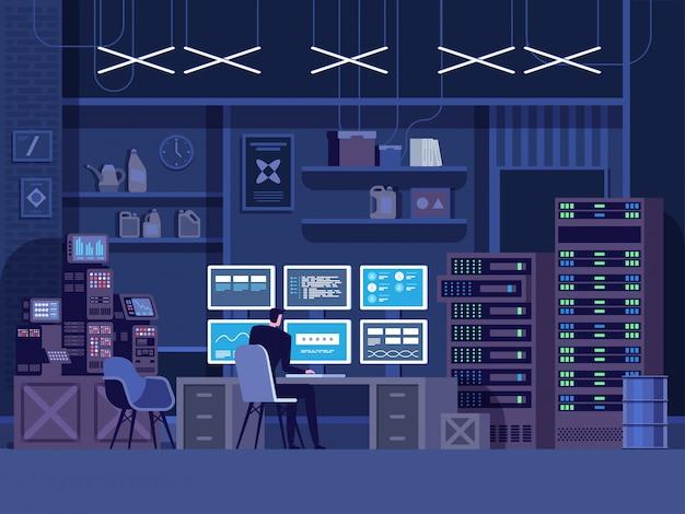 危険なハッカーが政府のデータサーバーに侵入 Premiumベクター