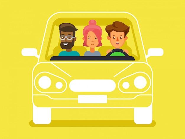 運転手と同乗者のキャラクターがいる相乗り。人々の多様なグループは、車、フロントビューを共有します Premiumベクター