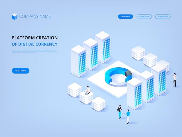 暗号通貨とブロックチェーン。デジタル通貨のプラットフォーム作成。ウェブサイトのヘッダー。ビジネス、分析、管理。 Premiumベクター