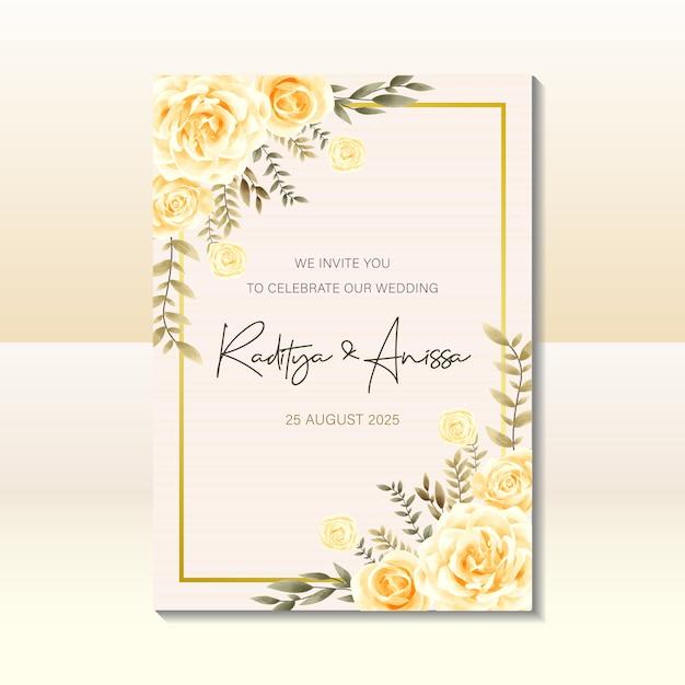 水彩のビンテージスタイルの結婚式の招待カードのテンプレート Premiumベクター