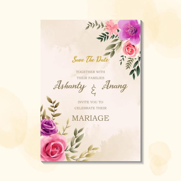 水彩のビンテージスタイルの美しさ結婚式招待状カードのテンプレート Premiumベクター