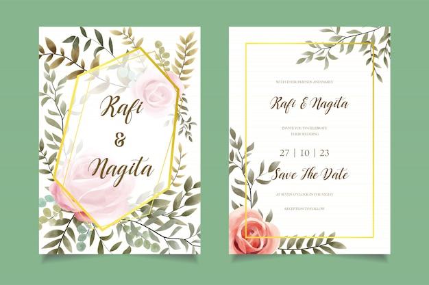 Акварельный цветок свадебный пригласительный билет шаблон Premium векторы