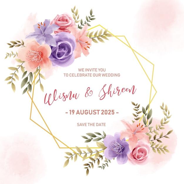 Шаблон приглашения свадебные, акварель золотая цветочная рамка в винтажном стиле Premium векторы