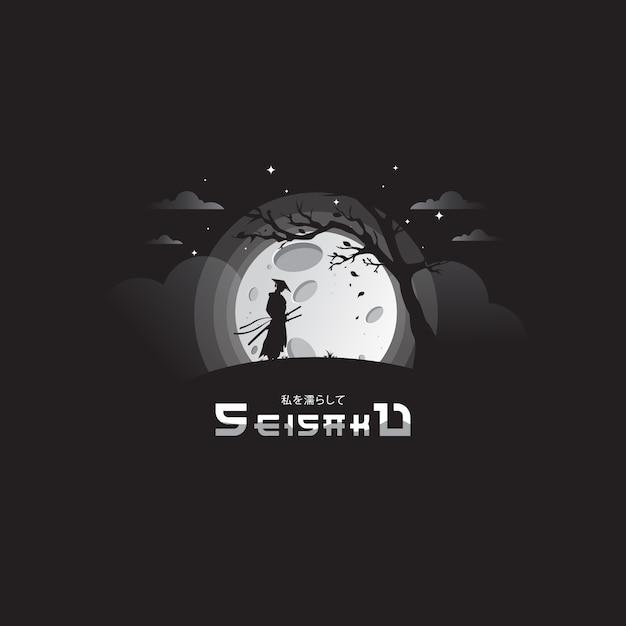 Самурайская ночь с удивительной луной Premium векторы