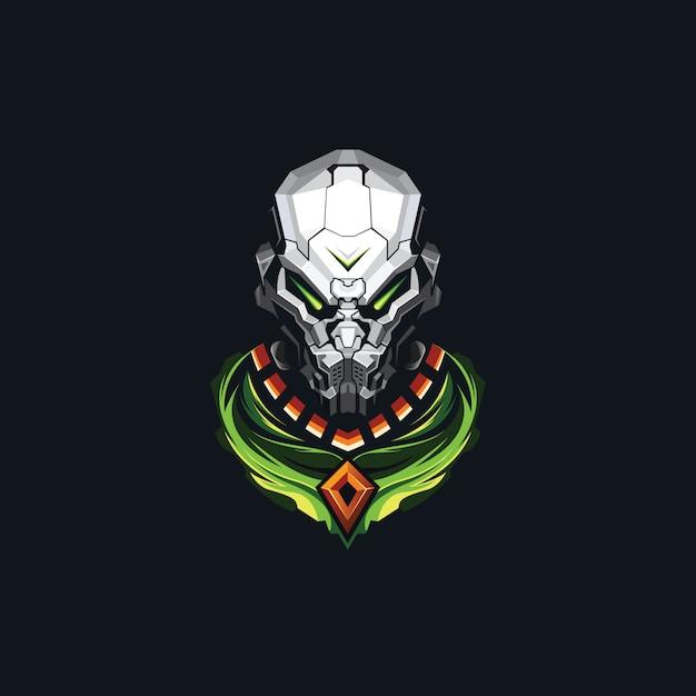 Дизайн логотипа головы робота киберспорта Premium векторы