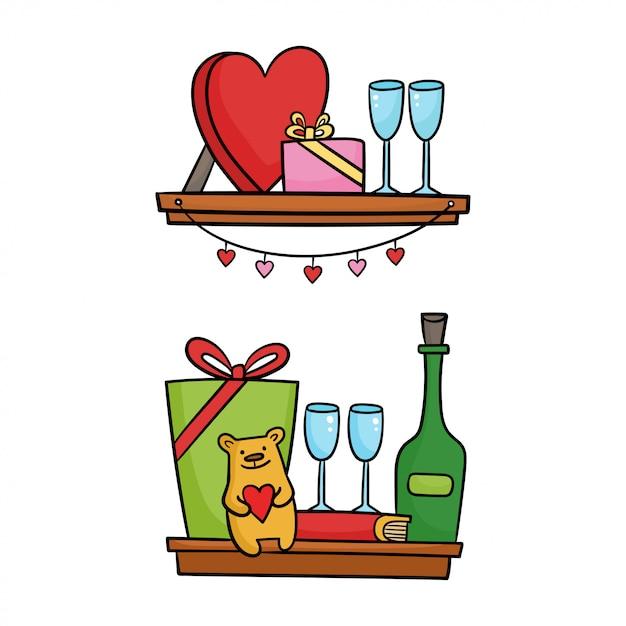 デザインのバレンタインの日のアイコンが付いている棚。漫画の実例 Premiumベクター