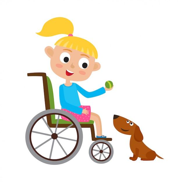 犬と遊ぶ車椅子のボールで笑顔のブロンディ少女のイラスト Premiumベクター