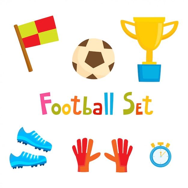 漫画サッカーのアイコンを設定します。白で隔離されるサッカーコレクション Premiumベクター