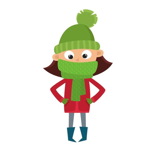 Девушка в красной куртке и зеленом шарфе в мультяшном стиле Premium векторы