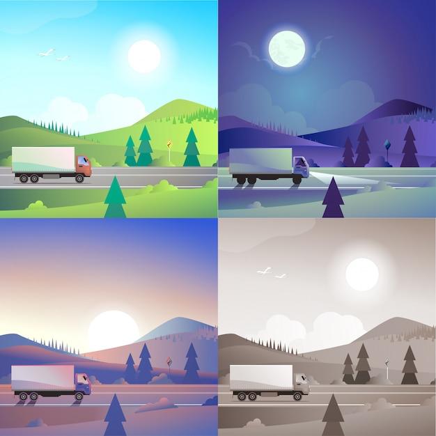 Плоский пейзаж холмистые горы сельской местности дорога доставки грузовик транспорта сцена набор. стильный веб-баннер природа открытый коллекция. дневной свет, ночной лунный свет, вид на закат, ретро старинные картины сепия. Бесплатные векторы
