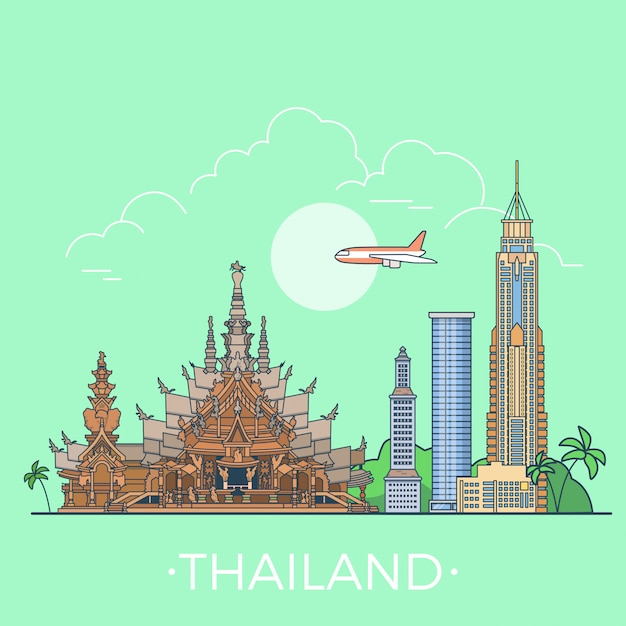 Знаменитые достопримечательности таиланда линейный стиль векторные иллюстрации. Бесплатные векторы