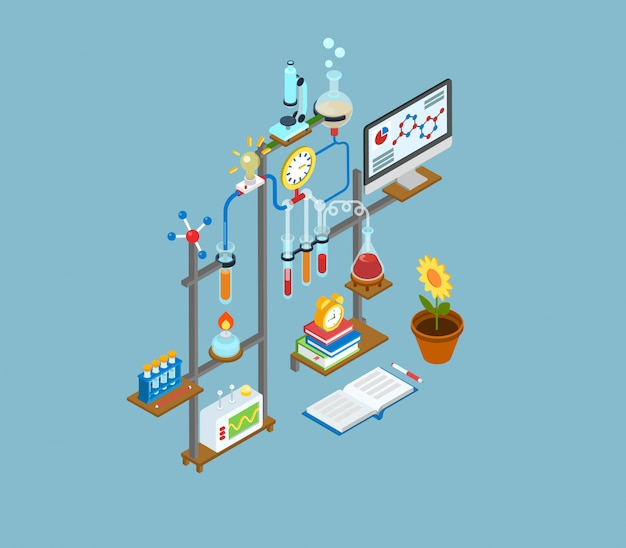 Научно-исследовательская лаборатория, испытательная лаборатория эксперимент оборудования концепции изометрические иллюстрации. Premium векторы