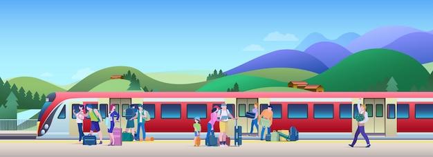 Посадка на поезд на железнодорожной станции векторные иллюстрации. люди садятся в поезд с платформы. Premium векторы