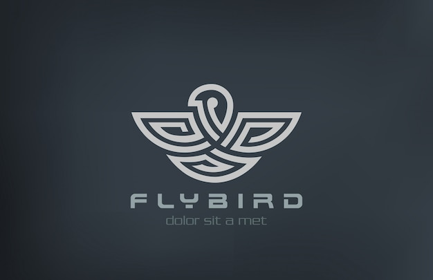 Значок логотипа абстрактный птица линейный стиль. Premium векторы