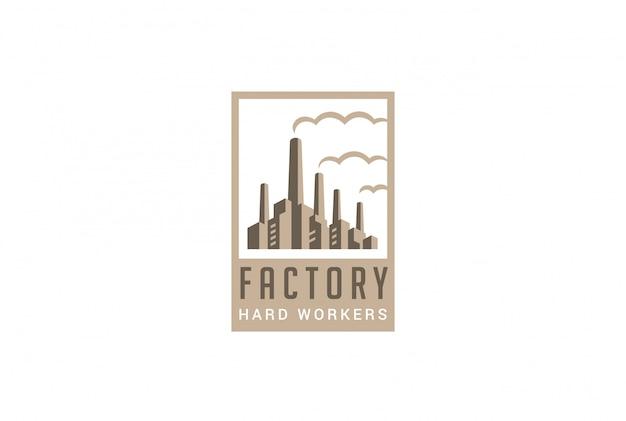 工場のロゴのレトロなスタイルのベクトルのアイコン。 無料ベクター