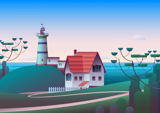 Маяк на берегу с морем и утреннее небо на фоне Premium векторы