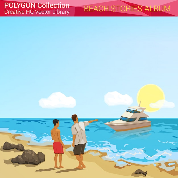 Люди на пляже на каникулах полигональных стиль иллюстрации. Premium векторы