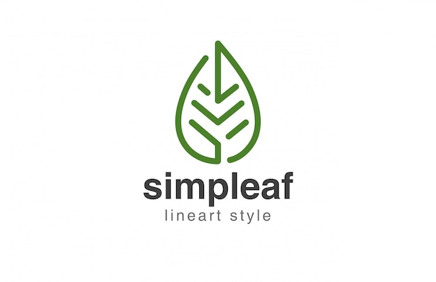葉ロゴ抽象的な線形スタイルアイコン 無料ベクター