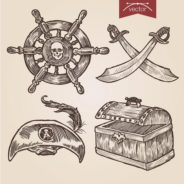 手描きの彫刻スタイルの海賊アクセサリーセット Premiumベクター