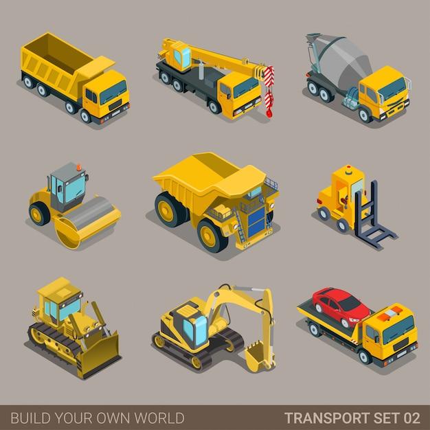 建設輸送フラット等尺性セット Premiumベクター