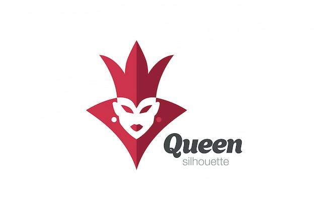 Королевская королева женщина силуэт логотип. отрицательный космический стиль. Бесплатные векторы