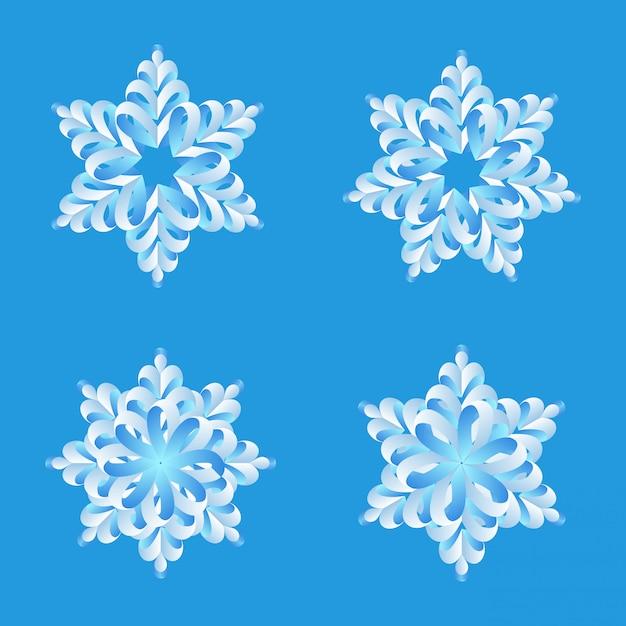 雪折り紙ベクトルデザインセット。 無料ベクター