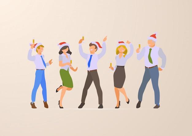 Сотрудники на корпоративной рождественской вечеринке плоские векторные иллюстрации. Premium векторы