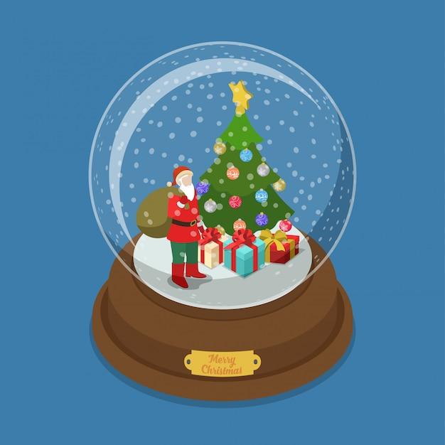 モミの木とサンタクロース等尺性ベクターイラストメリークリスマスクリスタルボール。 無料ベクター
