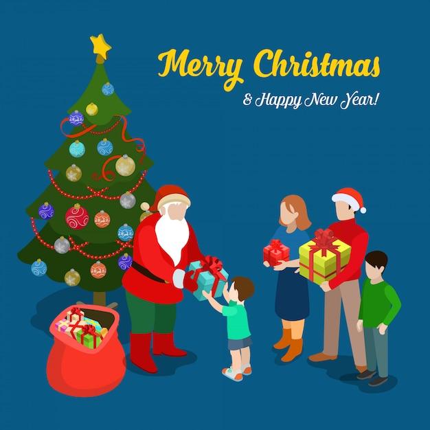 サンタクロースは小さな男の子にプレゼントを与えます。メリークリスマスと新年の等尺性ベクトルイラスト。 無料ベクター
