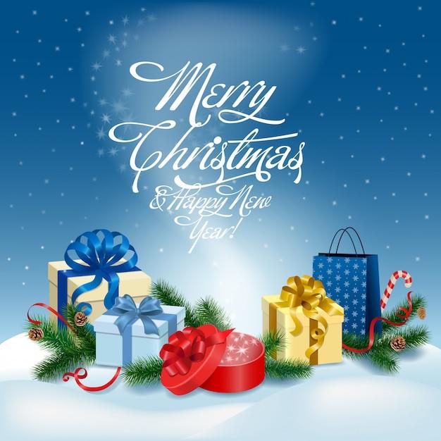 メリークリスマスと幸せな新年のグリーティングカードベクトルイラスト。 無料ベクター