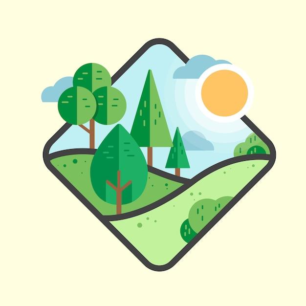 Природный ландшафт Premium векторы