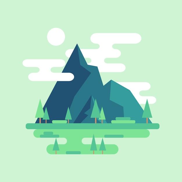 平らな山の風景。雲と空の太陽。 Premiumベクター