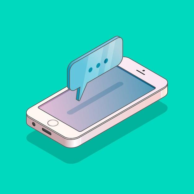 メッセージと現代の等尺性電話 Premiumベクター