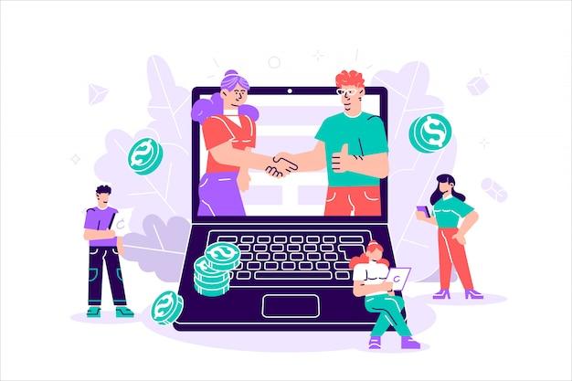 大きなラップトップで握手するビジネスパートナー Premiumベクター