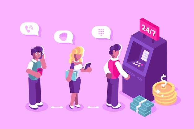 Клиент стоит возле банкомата и держит иллюстрацию кредитной карты Premium векторы