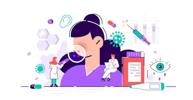 Болезнь с симптомами кашля, простуды и чихания. коронавирус лечение Premium векторы
