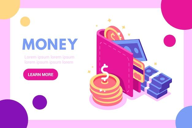 Концепция стопка монет и кошелька, электронный платеж, возврат денег, возврат веб-баннера Premium векторы