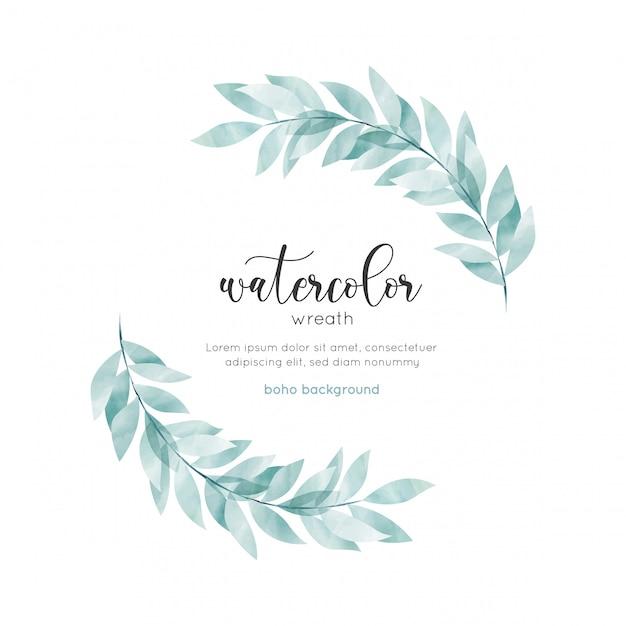 Акварель богемный стиль цветочная открытка Premium векторы