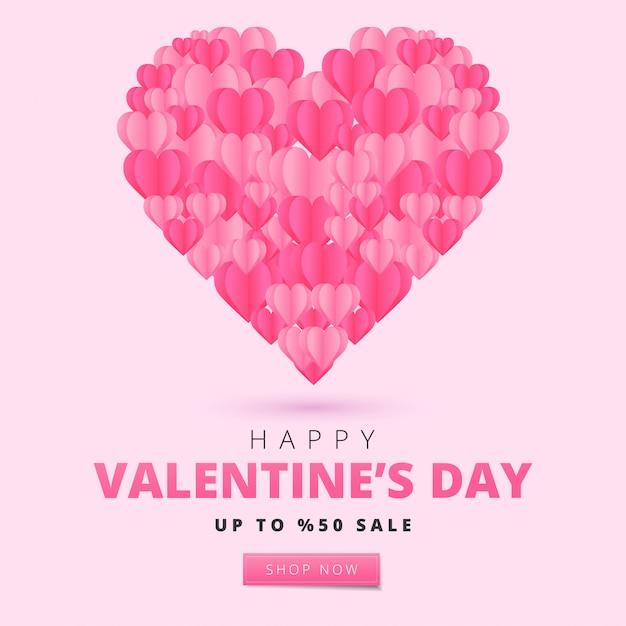 С днем святого валентина карты в стиле арт бумаги. праздник баннер с бумажными сердечками. праздничная иллюстрация. Premium векторы