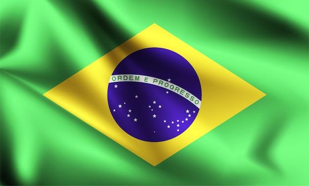 Флаг бразилии, дует ветер. часть серии. бразилия развевается флагом. Premium векторы