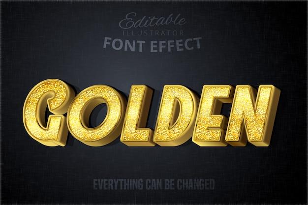 グリッチゴールデンテキスト効果、光沢のあるゴールドのアルファベットスタイル Premiumベクター