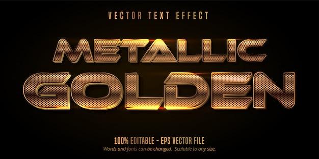 Эффект металлического золотого текста, блестящий золотой алфавит Premium векторы
