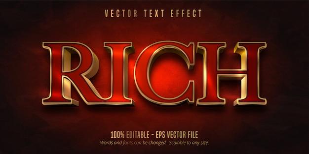 Богатый текст, красный цвет и блестящий эффект редактирования текста в золотом стиле Premium векторы